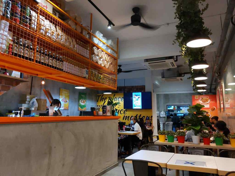 The interior of Molten diners, with a rather industrial look and design