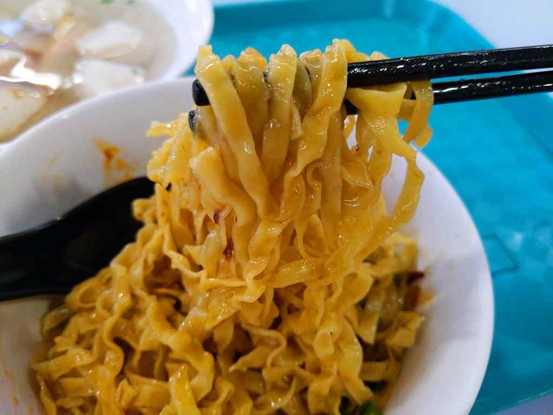 The noodles are springy and best paired with their sambal chilli
