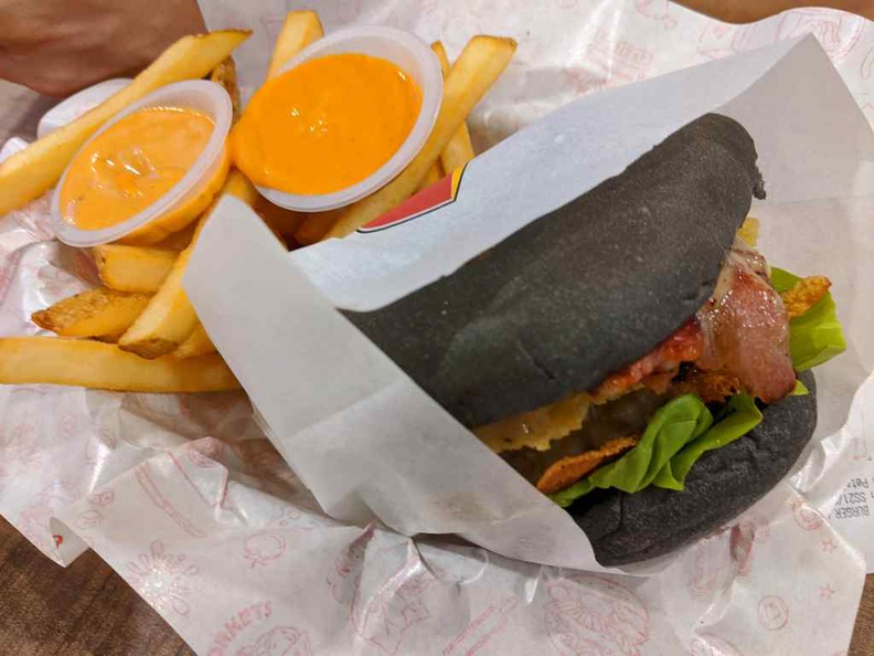 Burgers order as a set with accompanying fries and drinks. You can get a decent meal for under $10 SGD