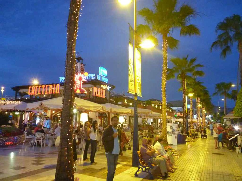 Tenerife Canary Islands Night chill out areas, is a pub district and full of food options at night