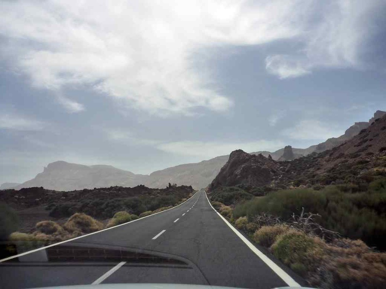Long driving straightsLong driving straights towards Mount Teide at the island central