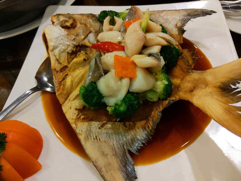 Fried and steam pomfret fish