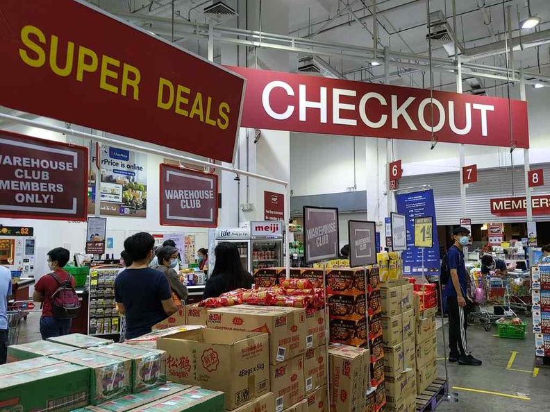 Fairprice Warehouse club checkout line and store specials