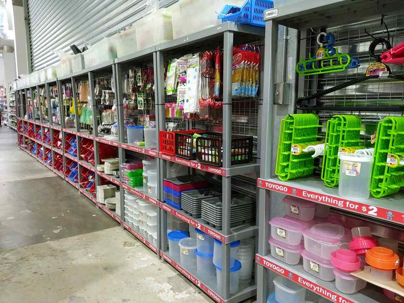 $2 Toyogo plastic products line of products on the back lane shelves