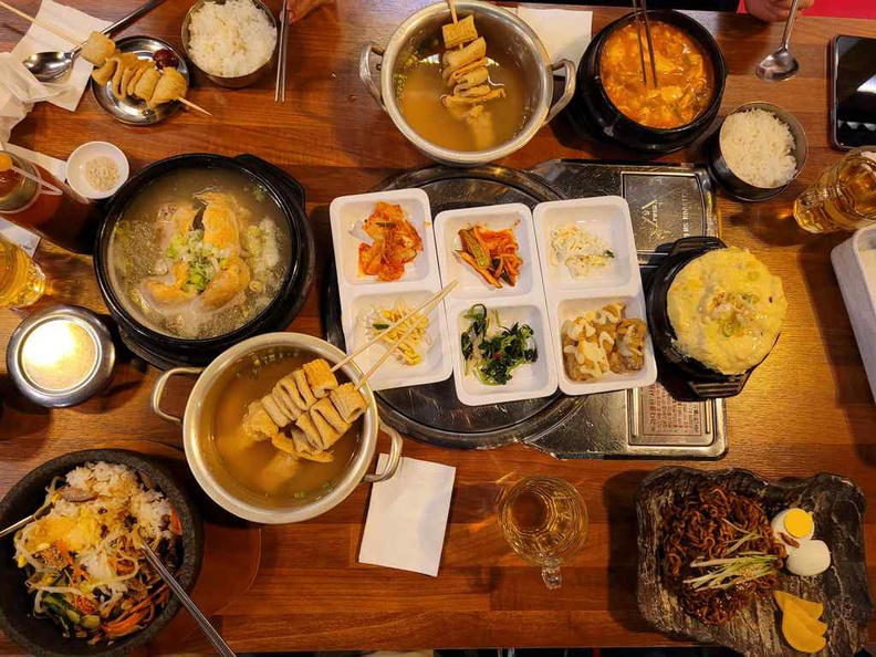 A typical spread at Wonderful Bap Seng. Loaded with all things Casual Korean dining