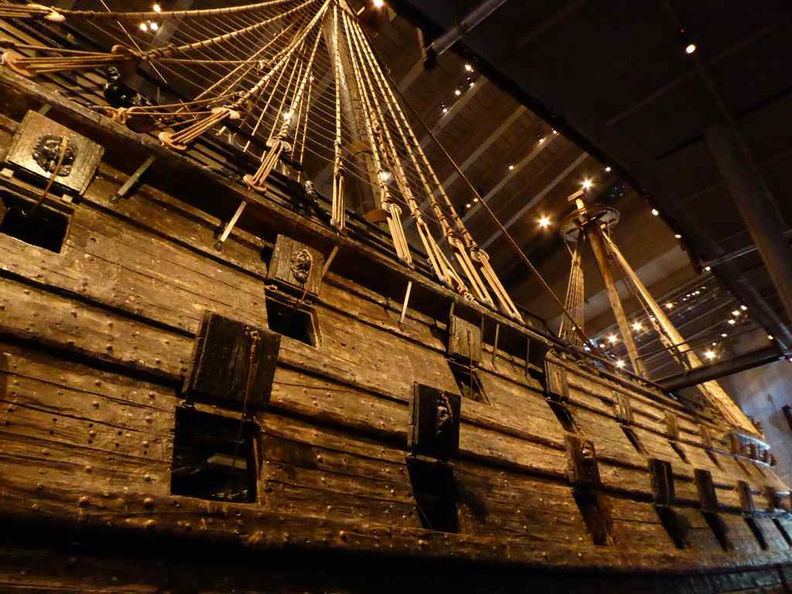 The port side, showing the large array of cannons in Stockholm Vasa Museum