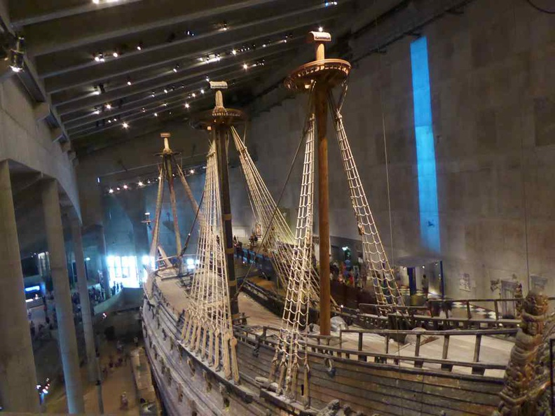 The Vasa with restored sails and masts. The museum is built around it