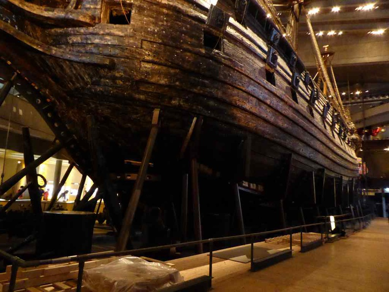 The lower hull section of the Vasa, which was designed too be too shallow to take the top heavy ship