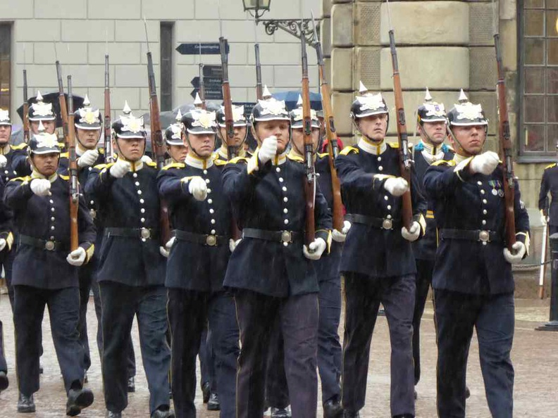 Change of guards marching band at the Stockholm City palace