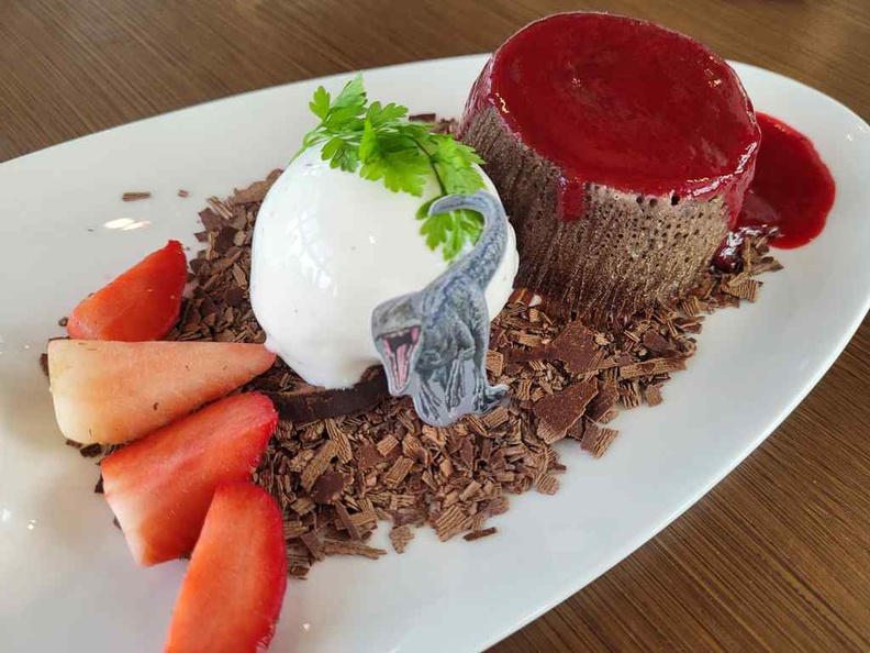Jurassic World Cafe Ion Sky Lava Flow dessert ($16), a Lava cake with salted egg yolk fillings