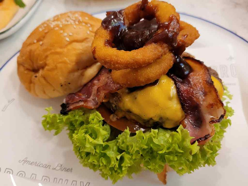 Black Angus Beef & Egg Burger ($16). It is a quite a loaded burger with potpourri of bacon and onion rings too