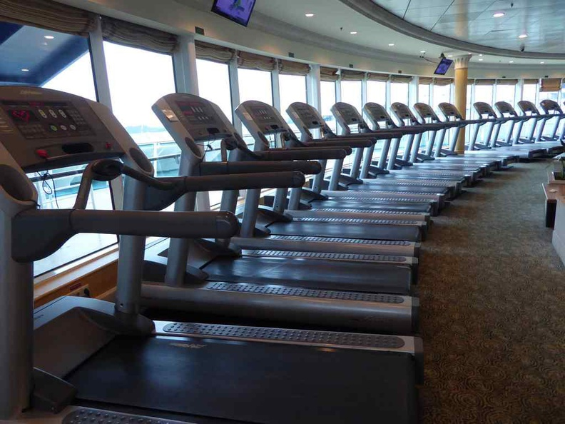 The ship gym on the top floor above the port side and bridge