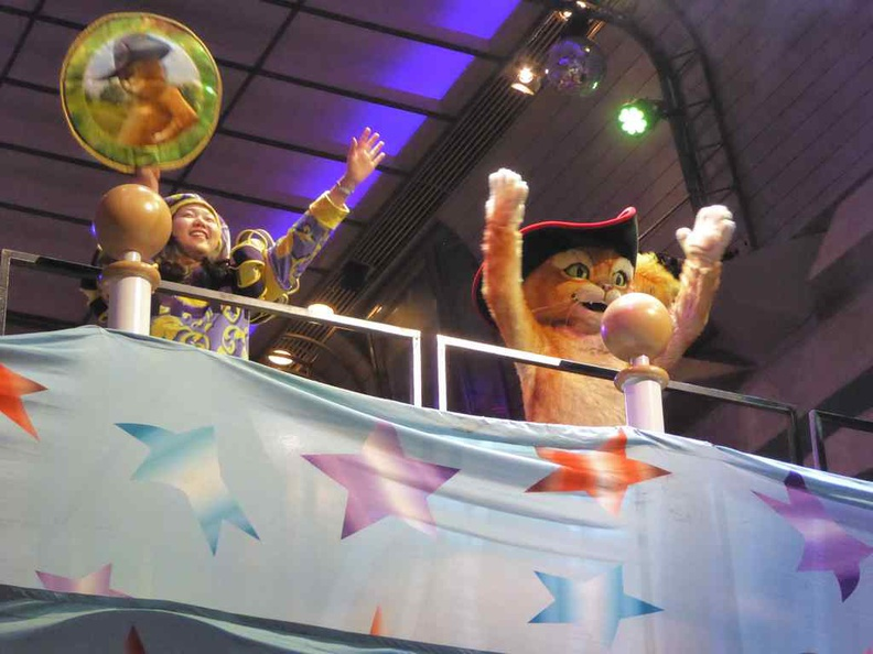 Dreamworks extravaganza parade at the ship's main indoor lobby atrium