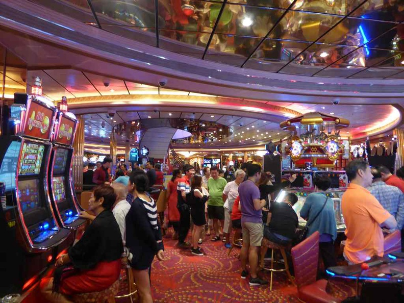 Inside the Casino floor of the Royal Caribbean Mariner of the Seas. Interestingly, this spot is a favorite for many. It opens once in international waters