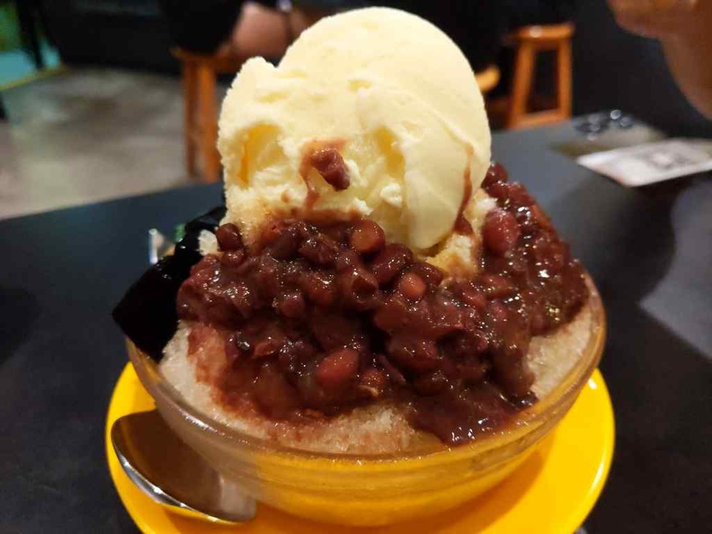 Red bean ice cream, also served on a bed of crushed ice