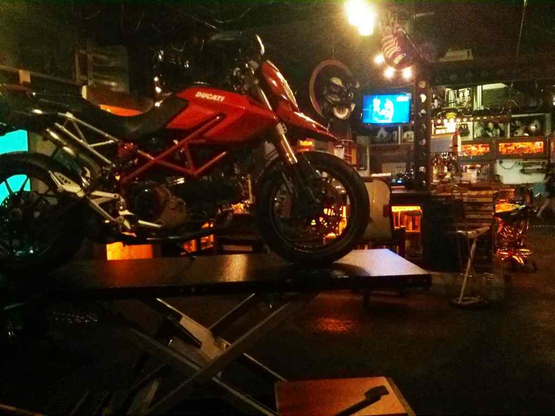 The indoor pub is themed after a bike workshop with a pool table too. Though most patrons would prefer to dine outdoors