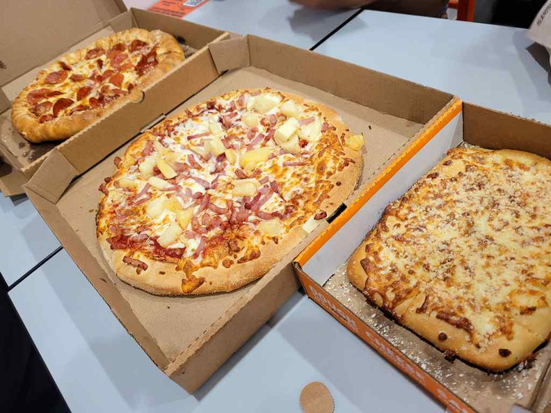 Spread of pizzas