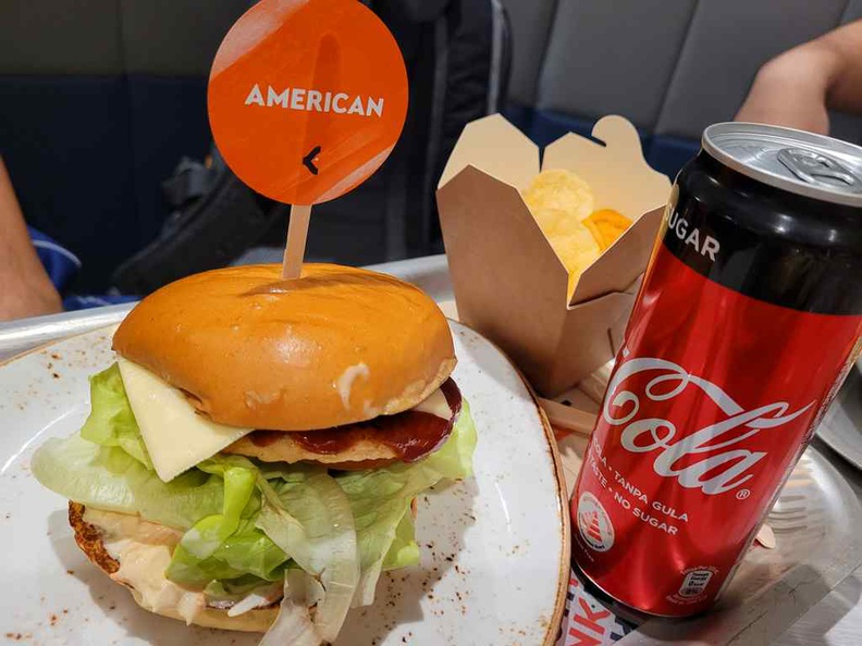 Your burgers are served with chips (not fries) and a soft drink