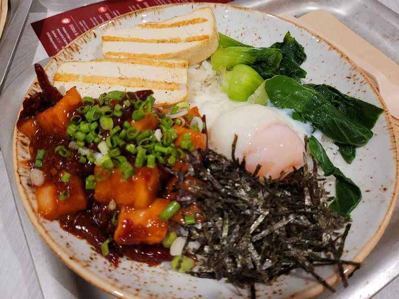 Mala Poke $14.90 in medium size, with beancurd, vegetables and osen egg.