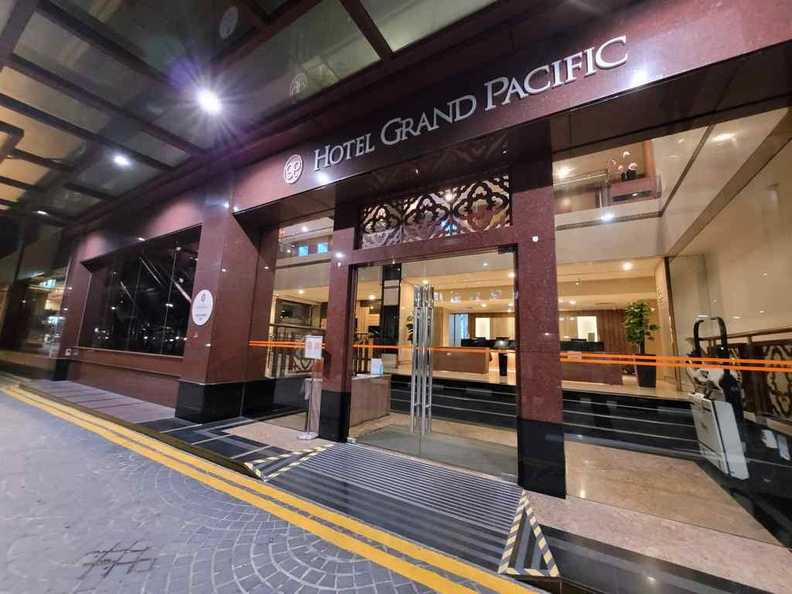 Exterior of Hotel Grand Pacific, in the heart of the city district