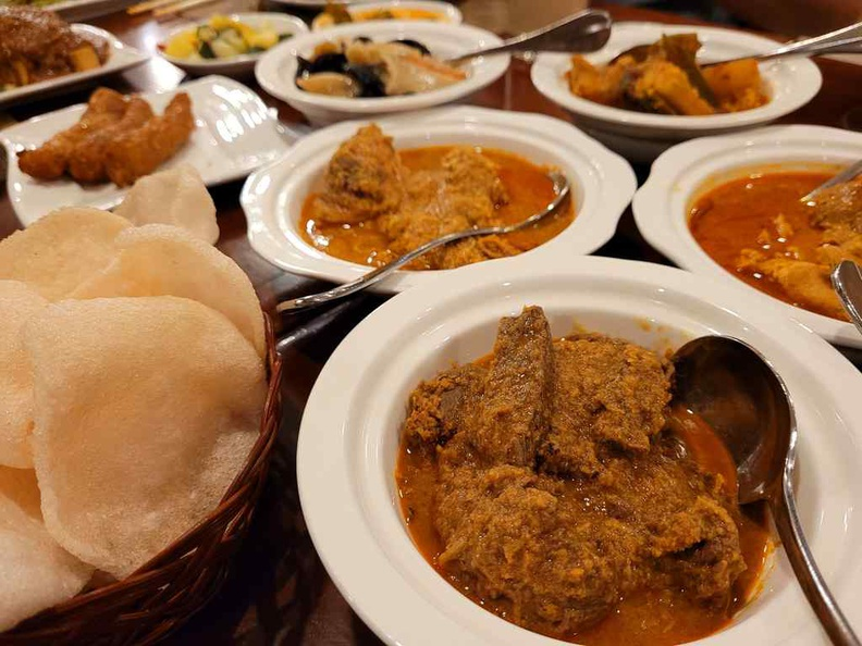 at Sun Cafe Peranakan Buffet there are several rendang and curry dishes to choose, comprising of meats, vegetables and seafood