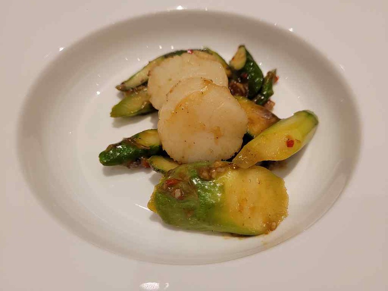 Wok-fired scallops, asparagus greens with homemade X.O sauces