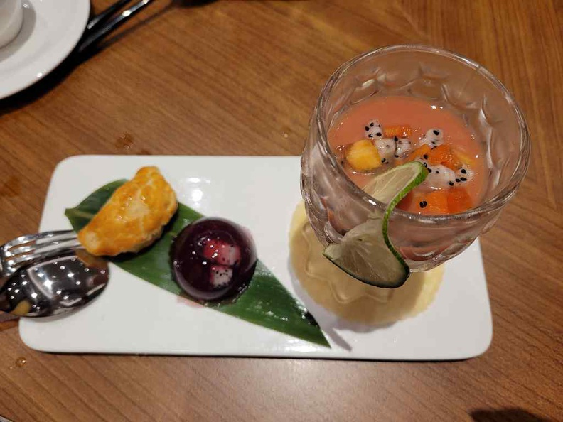 Huating Restaurant multi desserts dish with pastries and a guava drink