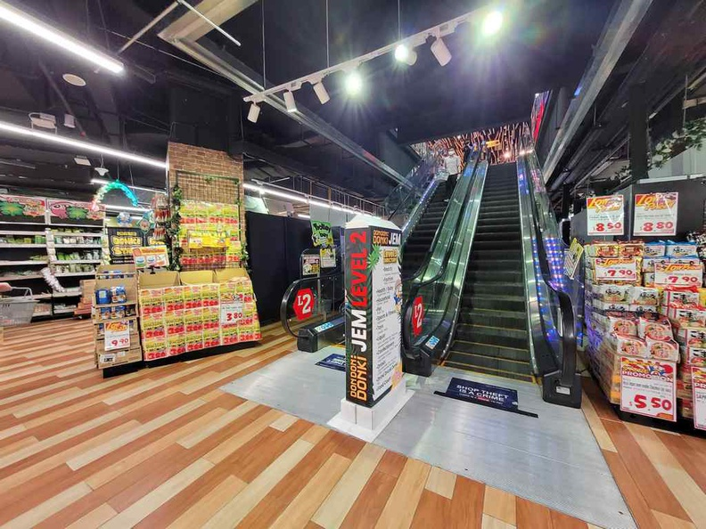Don Don Donki JEM spans over two floors with its own interior escalator
