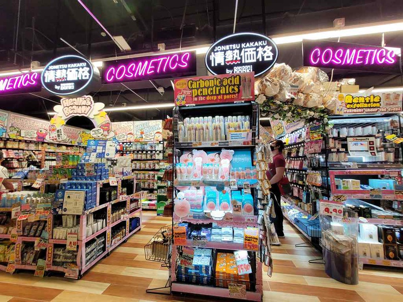 Don Don Donki JEM non-food section, starting with cosmetics, a sizable section here at JEM