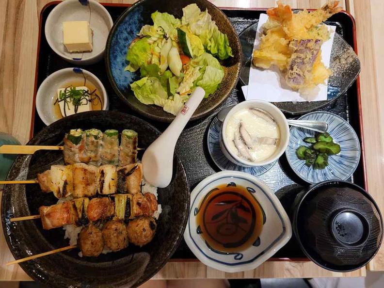 Japanese set meals served at Nanbantei yakitori with their signature yakitori