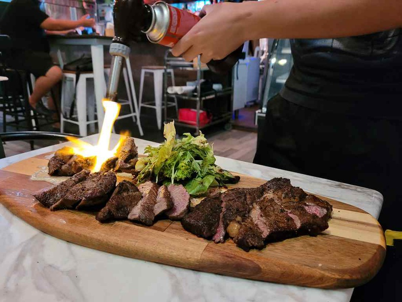 Flame seared grilled on your table before serving