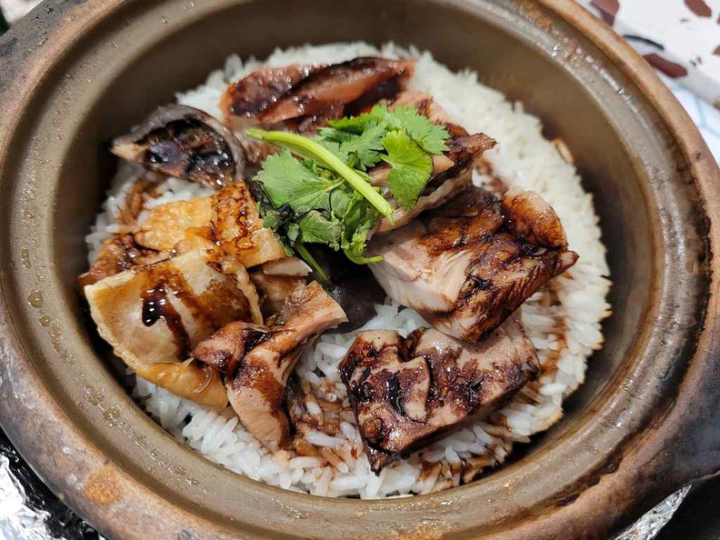 The chicken claypot is tender and juicy, though could do better with more vegetables