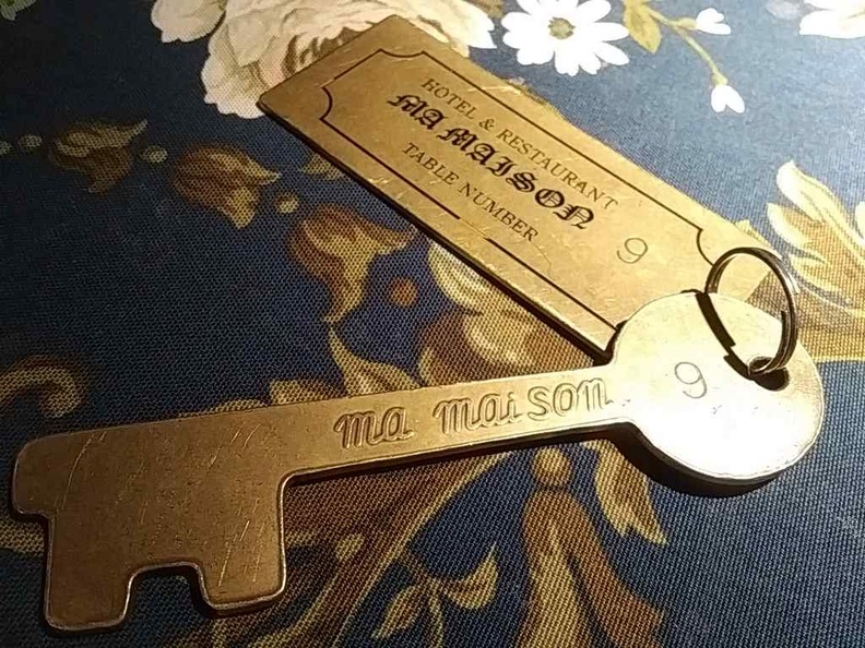 """You present these hotel """"room keys"""" to check-out of the Mai Maison establishment when you are done dining"""