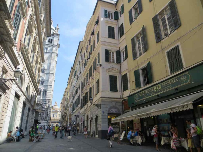 Genoa Italy City stretch with a good mix of eateries and stores