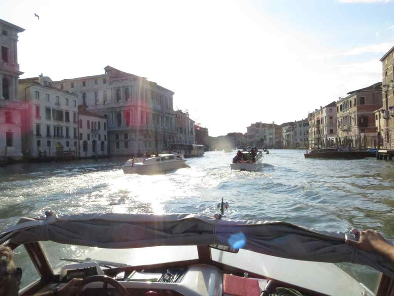Venice Italy On river taxi down the grand canal