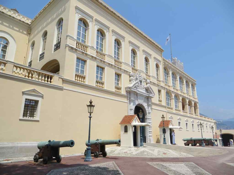 Front courtyard of the Monaco city palace also known as Prince's Palace of Monaco, built in 1191 as a Genoese fortress