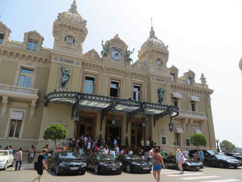 The elegant beaux-Arts facade of the Monte Carlo Casino building. It is popularized in film and literature, with upscale performances.