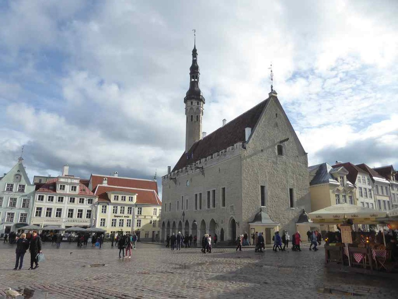 Tallinn Estonia Old town main square, buzzing with shops and cafes