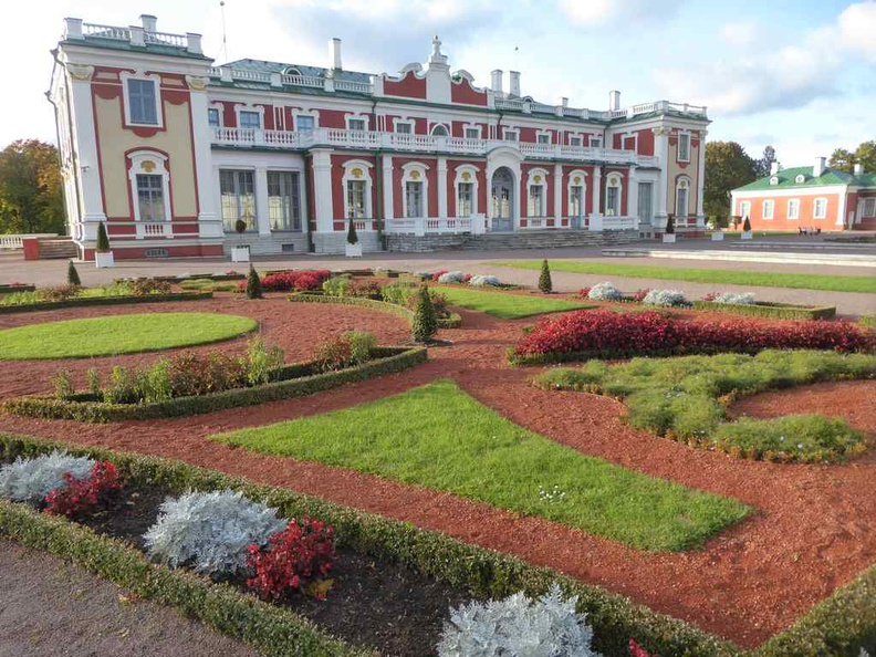 Lush gardens in the people's park with the Kadriorg Art Museum, a Petrine Baroque palace built for Catherine I of Russia by Peter the Great