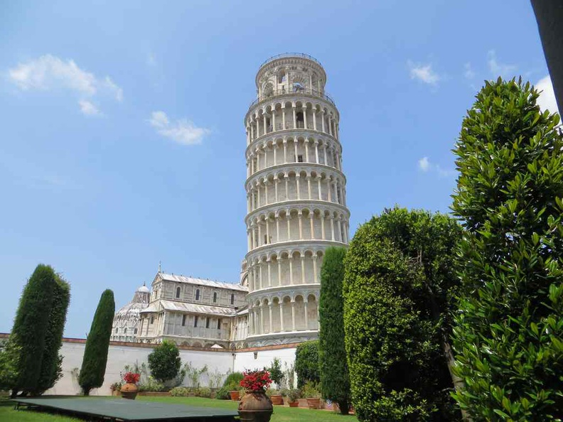 View of the leaning tower from museum Pisa Italy