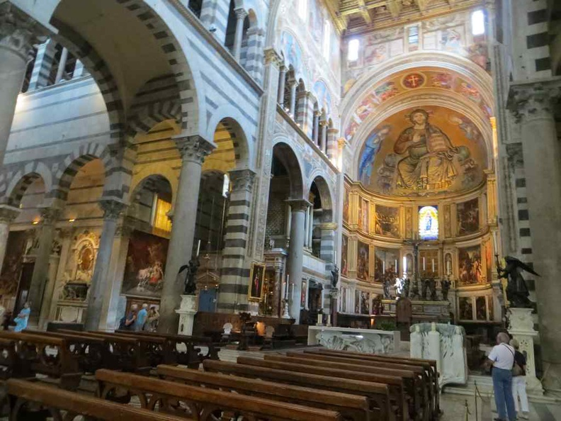 Pisa Italy Duomo Cathedral interior with the interior seating and central altar