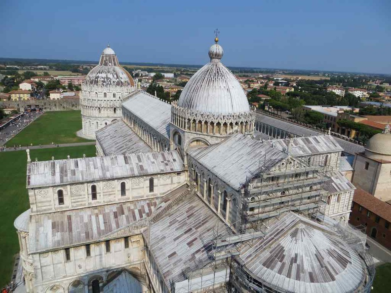 View from the top of the leaning tower with the Duomo Cathedral and Camposanto Monumentale in view Pisa Italy