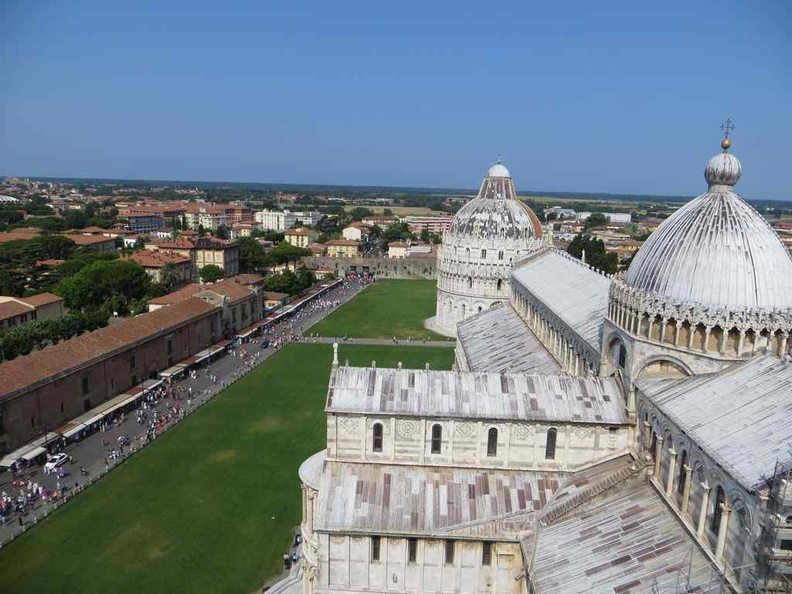 Clear view from the top with the Pisa Italy shopping street in the distance