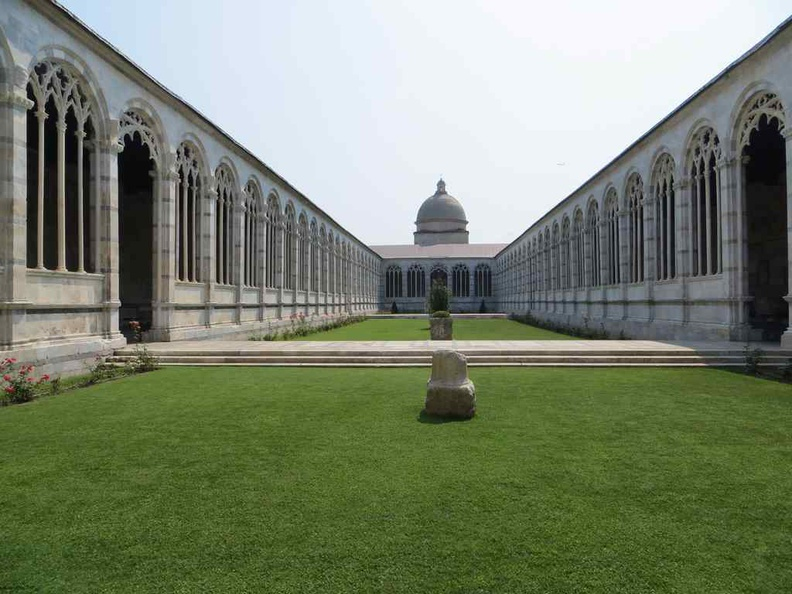 Interior of the Camposanto Monumental cemetery grounds Pisa Italy
