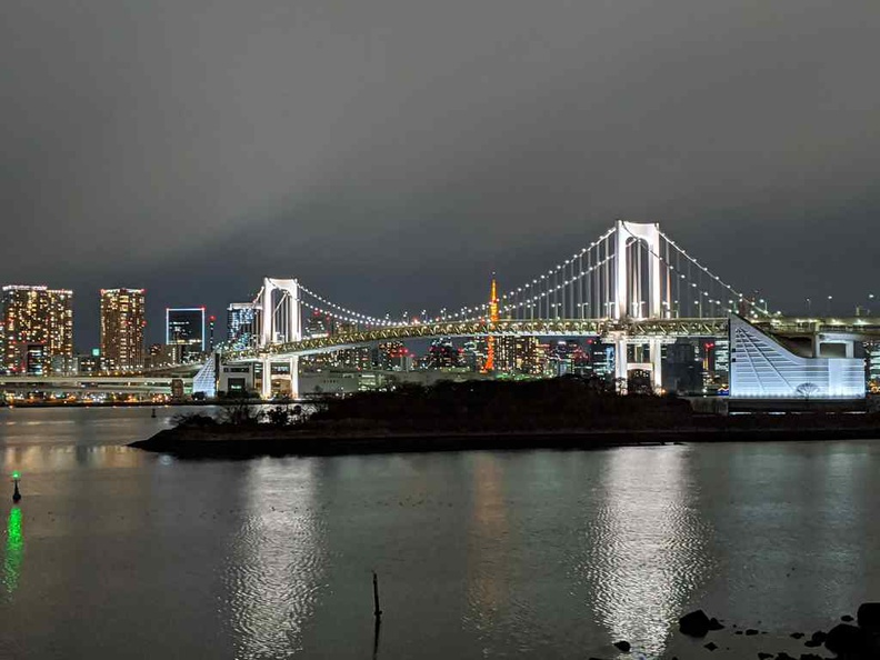 Nice panoramic view of the Rainbow bridge over the bay from the Teleport park