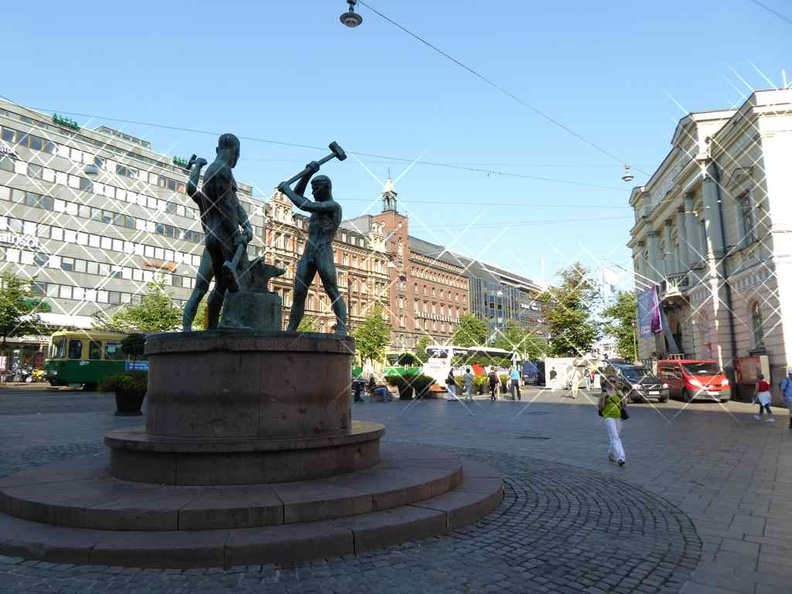 Helsinki central square and shopping street