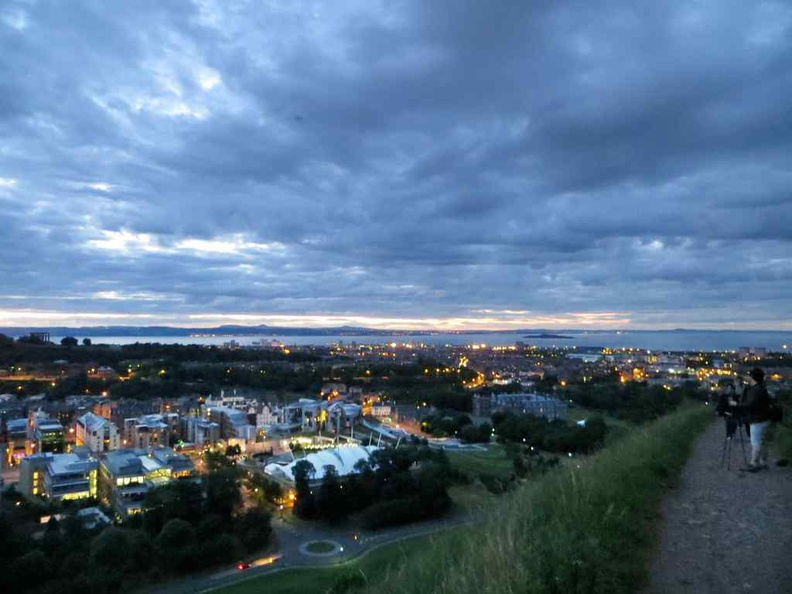 View from the top of Arthur's Seat past sunset dusk