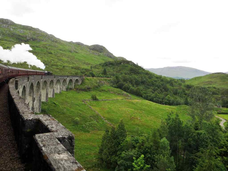 Chugging along Glenfinnan train viaduct, a highlight of the train's journey for the views