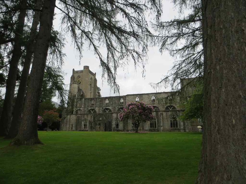 Dunkeld Cathedral in a chill forest by a lake