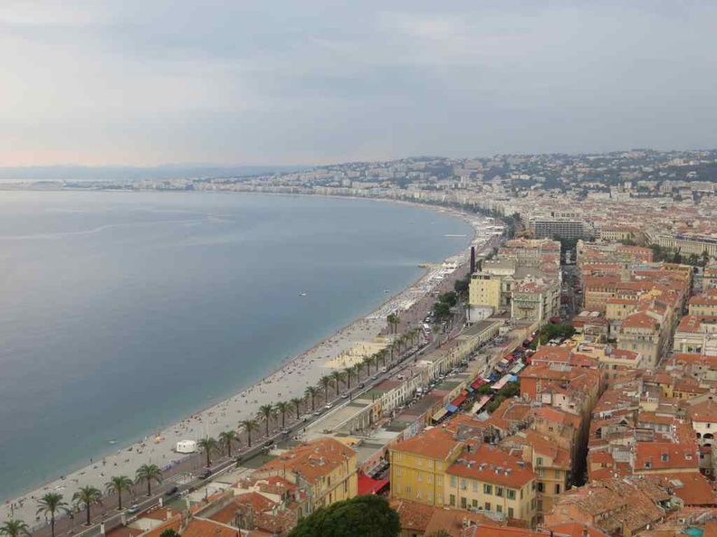 View of the beautiful beachside city of Nice France with the old town in view